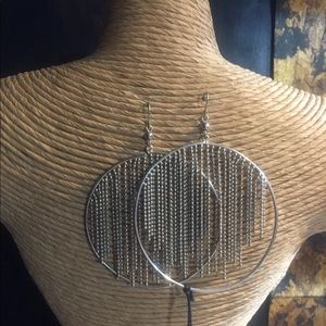 Fashion Silver Plated Fringe Earrings.